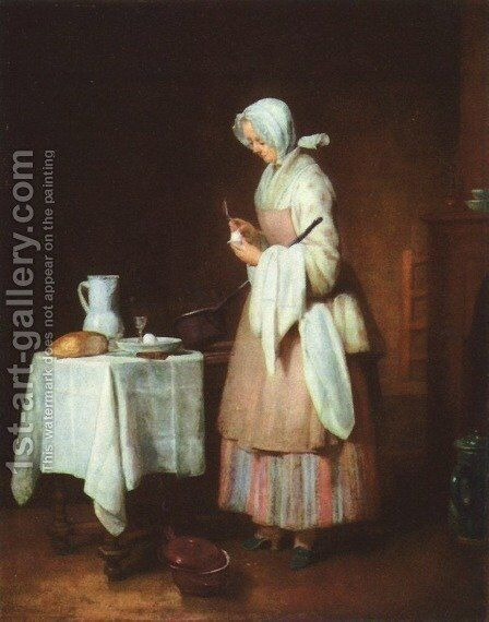 The Attentive Nurse c. 1738 by Jean-Baptiste-Simeon Chardin - Reproduction Oil Painting