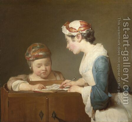 The Young Schoolmistress c. 1736 by Jean-Baptiste-Simeon Chardin - Reproduction Oil Painting