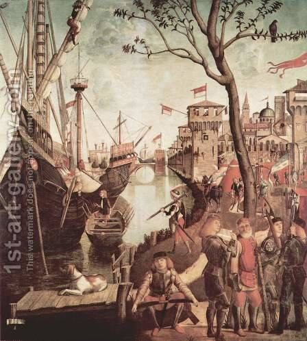 The Arrival of the Pilgrims in Cologne 1490 by Vittore Carpaccio - Reproduction Oil Painting