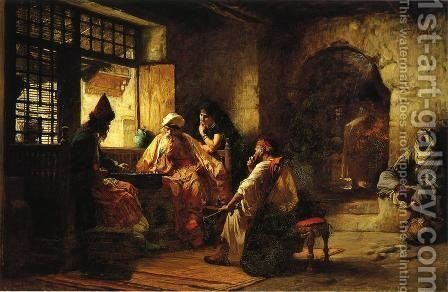 An Interesting Game by Frederick Arthur Bridgman - Reproduction Oil Painting