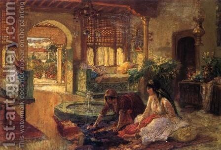 Orientalist Interior by Frederick Arthur Bridgman - Reproduction Oil Painting