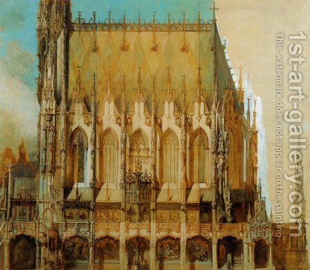 Gotische Grabkirche St  Michael  Seitenansicht [Gothic Cemetary  St  Michaels  Side View] by Hans Makart - Reproduction Oil Painting