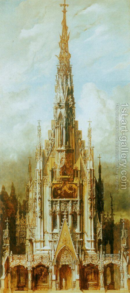 Gotische Grabkirche St  Michael  Turmfassade [Gothic Cemetary  St  Michaels  Front Tower] by Hans Makart - Reproduction Oil Painting