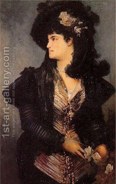 Portrait Of A Lady by Hans Makart - Reproduction Oil Painting