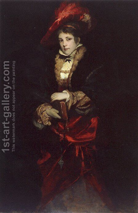 Portrait Of A Lady With Red Plumed Hat by Hans Makart - Reproduction Oil Painting