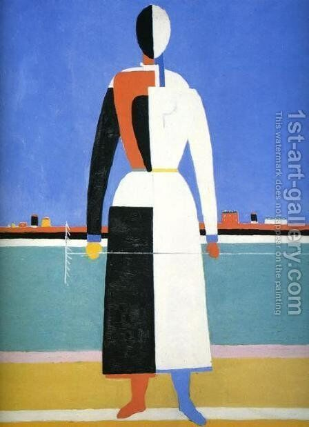 A Woman With A Rake by Kazimir Severinovich Malevich - Reproduction Oil Painting