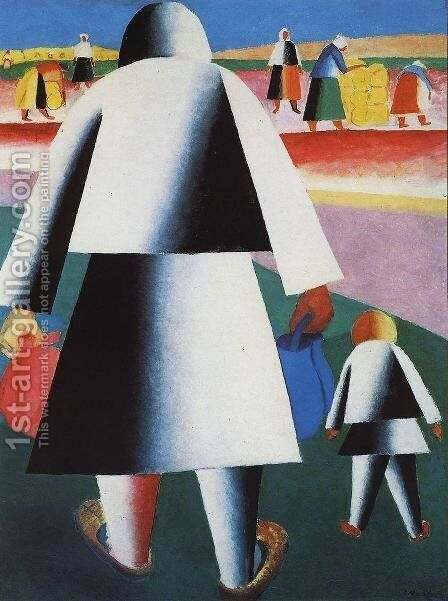 At The Harvest (Marpha And Vanka) by Kazimir Severinovich Malevich - Reproduction Oil Painting