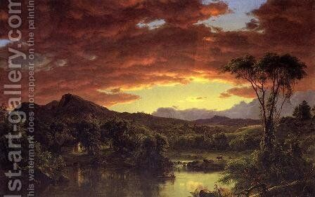 A Country Home by Frederic Edwin Church - Reproduction Oil Painting