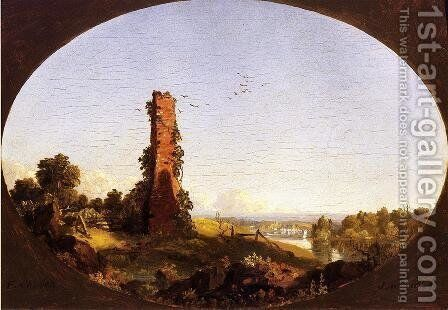New England Landscape With Ruined Chimney by Frederic Edwin Church - Reproduction Oil Painting