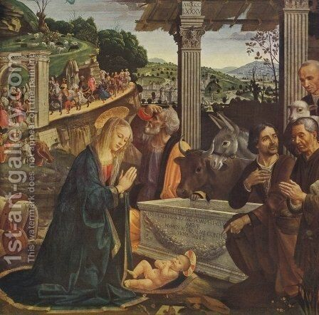 Adoration of the Shepherds 1482-85 by Domenico Ghirlandaio - Reproduction Oil Painting