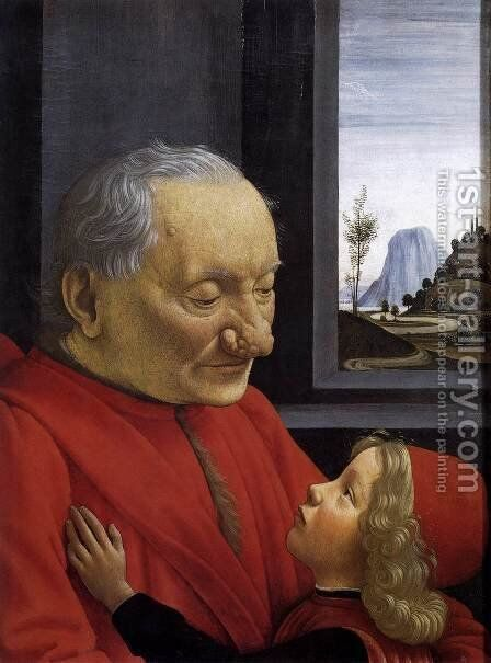An Old Man and His Grandson c. 1490 by Domenico Ghirlandaio - Reproduction Oil Painting