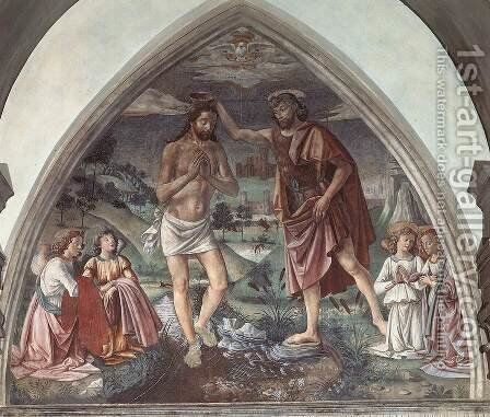 Baptism of Christ  c.1473 by Domenico Ghirlandaio - Reproduction Oil Painting