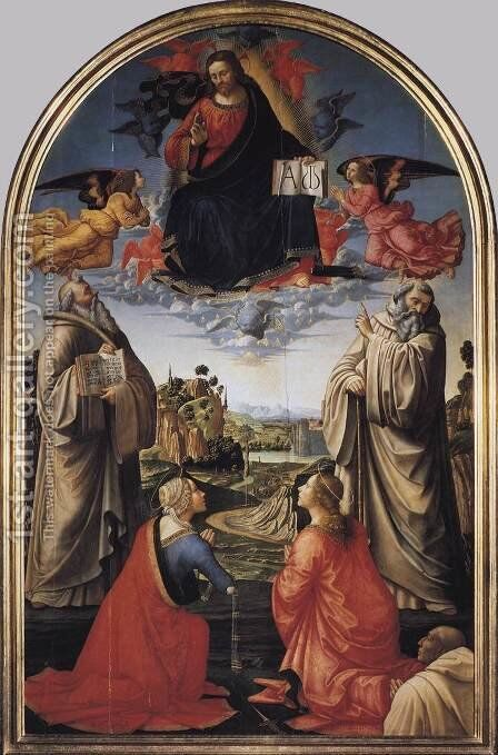 Christ in Heaven with Four Saints and a Donor c 1492 by Domenico Ghirlandaio - Reproduction Oil Painting