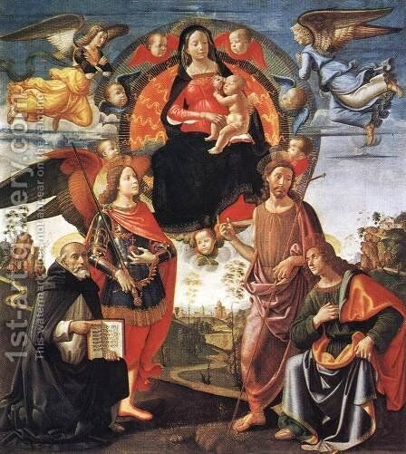 Madonna in Glory with Saints 1490-96 by Domenico Ghirlandaio - Reproduction Oil Painting