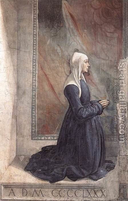 Portrait of the Donor Nera Corsi Sassetti c. 1485 by Domenico Ghirlandaio - Reproduction Oil Painting
