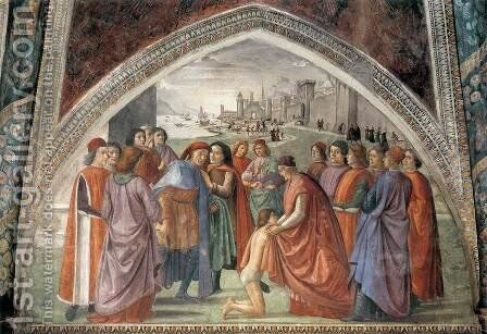 Renunciation of Worldly Goods 1482-85 by Domenico Ghirlandaio - Reproduction Oil Painting