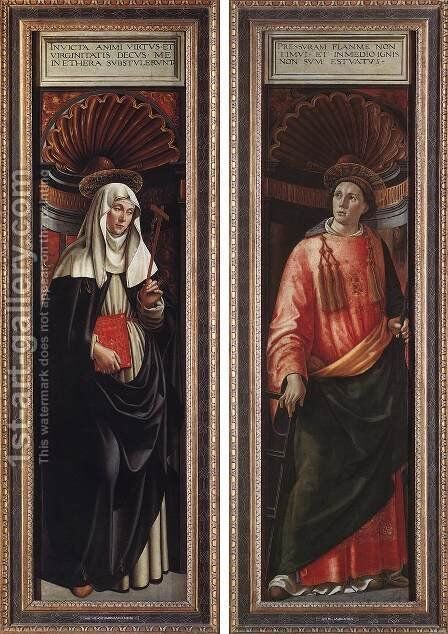 St Catherine of Siena and St Lawrence 1490-98 by Domenico Ghirlandaio - Reproduction Oil Painting
