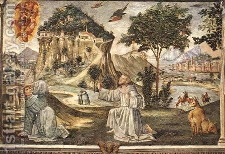 Stigmata of St Francis 1482-85 by Domenico Ghirlandaio - Reproduction Oil Painting