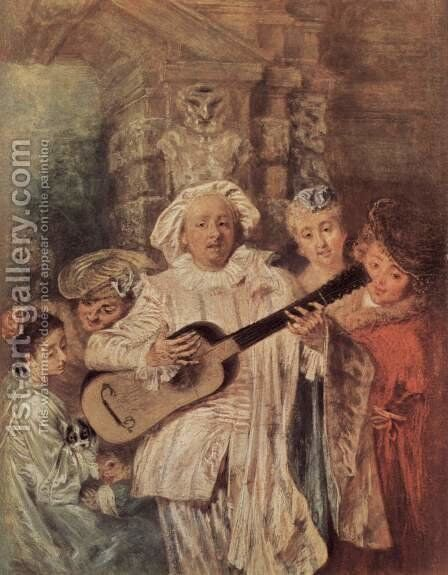 Gilles and his Family c. 1716 by Jean-Antoine Watteau - Reproduction Oil Painting