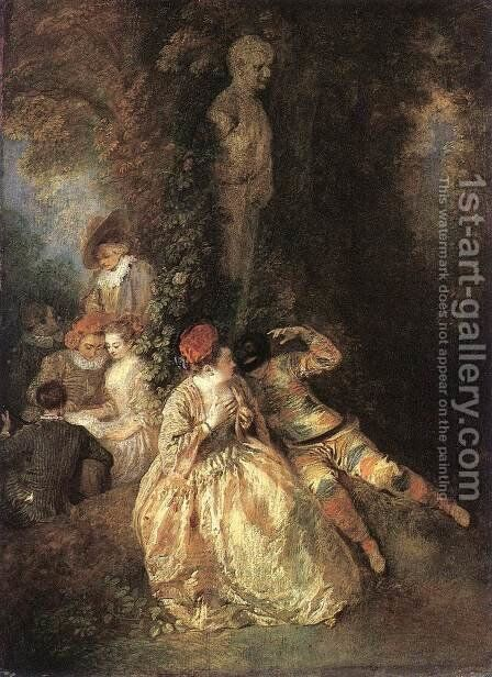 Harlequin and Columbine 1716-18 by Jean-Antoine Watteau - Reproduction Oil Painting
