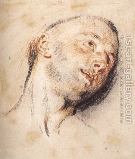 Head of a Man by Jean-Antoine Watteau - Reproduction Oil Painting