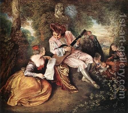 'La gamme d'amour' (The Love Song) c. 1717 by Jean-Antoine Watteau - Reproduction Oil Painting