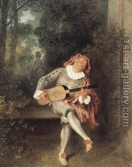 Mezzetin 1717-19 by Jean-Antoine Watteau - Reproduction Oil Painting