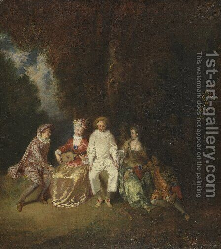 Pierrot Content by Jean-Antoine Watteau - Reproduction Oil Painting