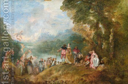 The Embarkation for Cythera 1717 by Jean-Antoine Watteau - Reproduction Oil Painting