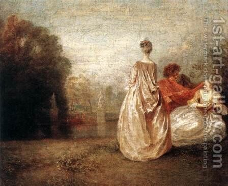 Two Cousins c. 1716 by Jean-Antoine Watteau - Reproduction Oil Painting