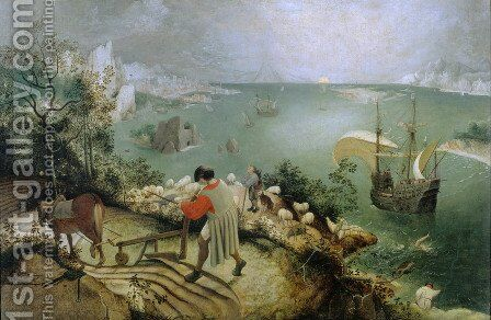 Landscape with the Fall of Icarus c. 1558 by Pieter the Elder Bruegel - Reproduction Oil Painting