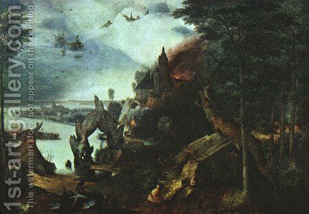 Landscape with the Temptation of Saint Anthony 1555-58 by Pieter the Elder Bruegel - Reproduction Oil Painting