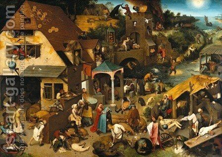 Netherlandish Proverbs 1559 by Pieter the Elder Bruegel - Reproduction Oil Painting
