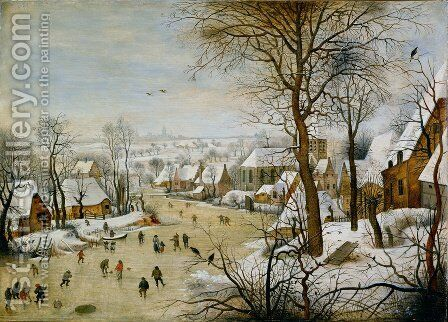 Winter Landscape with Skaters and Bird Trap 1565 by Pieter the Elder Bruegel - Reproduction Oil Painting
