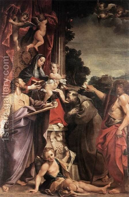 Madonna Enthroned with St Matthew 1588 by Annibale Carracci - Reproduction Oil Painting