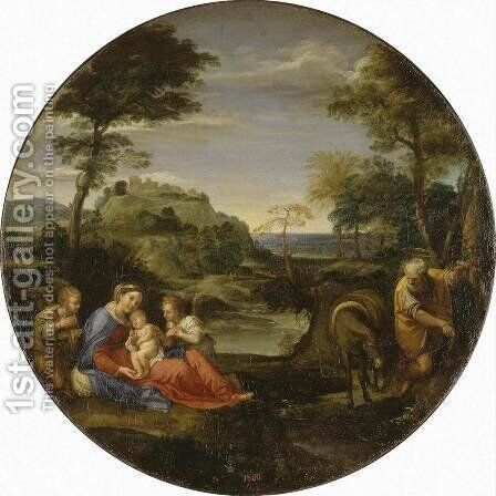 Rest on Flight into Egypt c. 1600 by Annibale Carracci - Reproduction Oil Painting