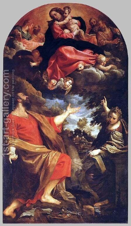 The Virgin Appears to Sts Luke and Catherine 1592 by Annibale Carracci - Reproduction Oil Painting