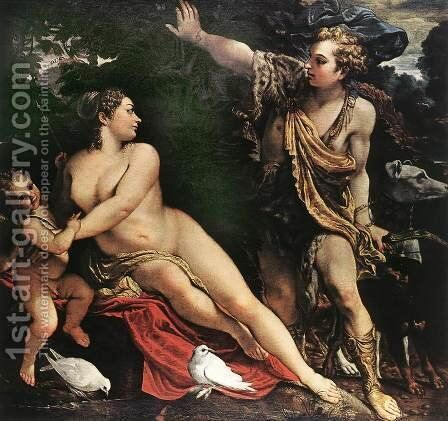 Venus and Adonis c. 1595 by Annibale Carracci - Reproduction Oil Painting