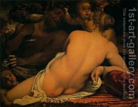 Venus with a Satyr and Cupids c. 1588 by Annibale Carracci - Reproduction Oil Painting
