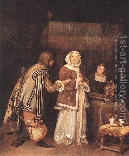 The Letter c. 1655 by Gerard Ter Borch - Reproduction Oil Painting