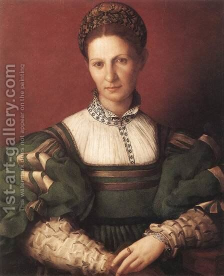Portrait of a Lady in Green, 1530-32 by Agnolo Bronzino - Reproduction Oil Painting