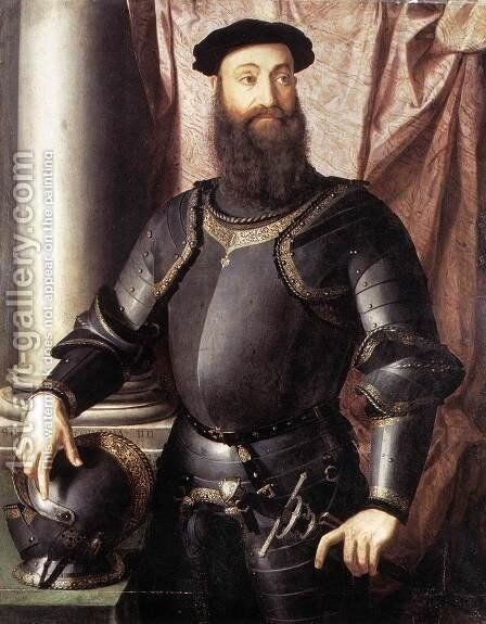 Portrait of Stefano IV Colonna 1546 by Agnolo Bronzino - Reproduction Oil Painting