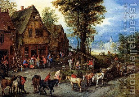 A Village Street With The Holy Family Arriving At An Inn by Jan The Elder Brueghel - Reproduction Oil Painting