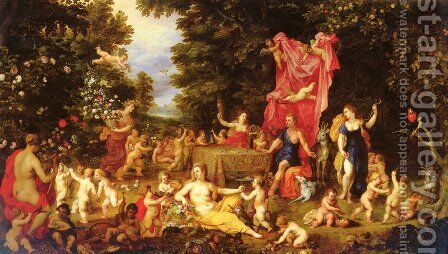 An Allegory Of The Five Senses by Jan The Elder Brueghel - Reproduction Oil Painting