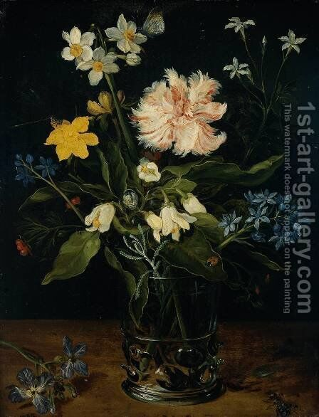 Still Life With Flowers In A Glass by Jan The Elder Brueghel - Reproduction Oil Painting
