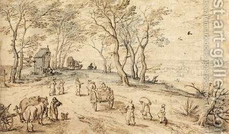 Villagers on their Way to Market 1615-19 by Jan The Elder Brueghel - Reproduction Oil Painting