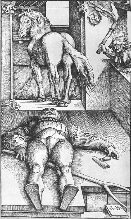 The Groom Bewitched 1544 by Hans Baldung  Grien - Reproduction Oil Painting