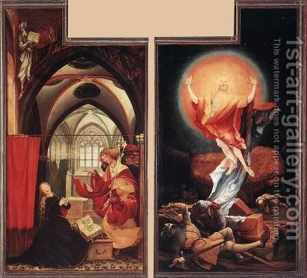 Annunciation and Resurrection  c. 1515 by Matthias Grunewald (Mathis Gothardt) - Reproduction Oil Painting