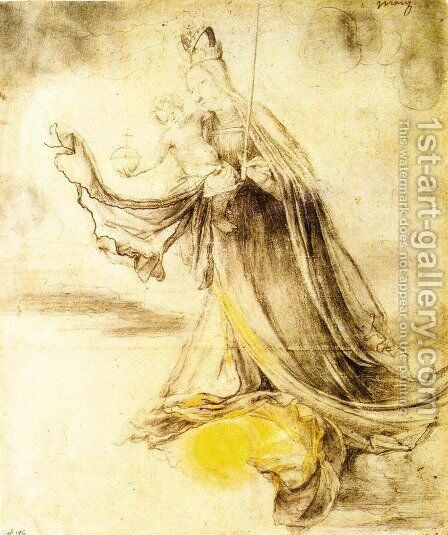 Mary with the Sun below her Feet c. 1520 by Matthias Grunewald (Mathis Gothardt) - Reproduction Oil Painting