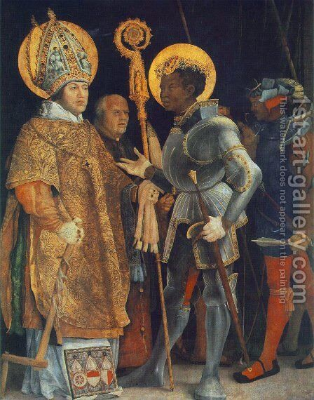 Meeting of St Erasm and St Maurice 1517-23 by Matthias Grunewald (Mathis Gothardt) - Reproduction Oil Painting